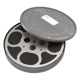 Movie film reel case on white 3D Illustration. Retro movie film reel case on white background 3D Illustration Royalty Free Stock Photo