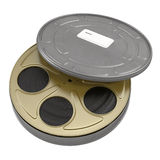 Movie film reel case on white 3D Illustration. Retro movie film reel case on white background 3D Illustration Royalty Free Stock Photography