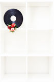 Movie film reel with christmas decoration on vertical white book Stock Images
