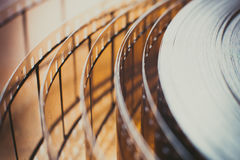 Movie film reel detail, unrolled film close up Stock Photography