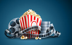Movie film reel and popcorn. Vector illustration on the blue background EPS10. Transparent objects used for shadows and lights drawing Royalty Free Stock Photos