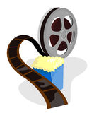 Movie film reel with popcorn Stock Images