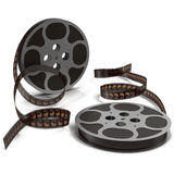 Movie film reel on white 3D Illustration. Retro movie film reel on white background 3D Illustration Stock Photos