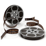 Movie film reel on white 3D Illustration. Retro movie film reel on white background 3D Illustration Royalty Free Stock Images