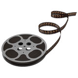 Movie film reel on white 3D Illustration. Retro movie film reel on white background 3D Illustration Royalty Free Stock Photography