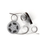 Movie film reel on white 3D Illustration. Retro movie film reel on white background 3D Illustration Royalty Free Stock Photos