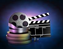 Movie film reels and cinema clapper. Illustration of movie film reels and cinema clapper Stock Image