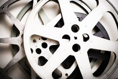 Movie film reels empty vintage effect. On neutral background Stock Photos