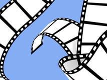 Movie Film Strip. Black Movie Film Strip on a blue background Royalty Free Stock Image