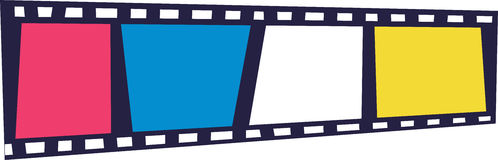 Movie Film Strip. A fun illustrated version of classic movie film strip Royalty Free Stock Photography
