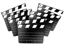 Movie Film Studio Clapper Boards Cinema Director Producer. Film studio clapper boards to illustrate cinema, movies, entertainment and Hollywood filmmaking Royalty Free Stock Photos