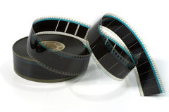 Movie Film Trailer 3. A 35mm movie film trailer with end unravelling - on white Stock Photography