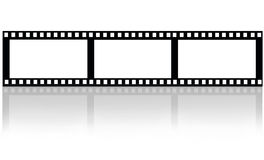 Movie film on white. Fragment of movie film with shadow  on white background.Illustration Stock Photo