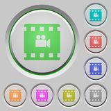 Movie filming push buttons. Movie filming color icons on sunk push buttons Royalty Free Stock Images