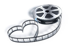 Movie films spool. With heart shaped film Stock Photos