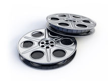 Movie films spool. Isolated on white Stock Image