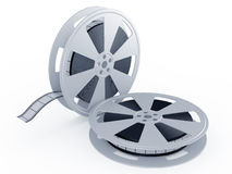 Movie films spool. 3d render of movie films spool on white background Stock Photography