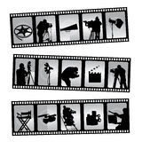 Movie filmstrip. 3 different movie filmstrip vector Stock Photos