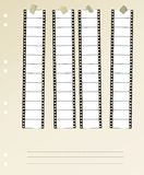 Movie filmstrip. 35 mm widescreen movie filmstrip, mounted, free space for pix Royalty Free Stock Images