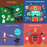 Movie Flat Icons Set Stock Images