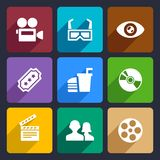 Movie Flat Icons Set 38. Movie Infographic flat icons set  for Web and Mobile Applications Stock Photos