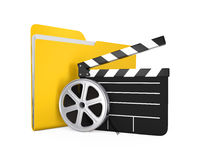 Movie Folder, Clapper Board and Film Reel Royalty Free Stock Photography