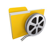 Movie Folder and Film Reel Isolated. On white background. 3D render Royalty Free Stock Images
