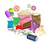 An illustration Collection of Various Cinema Foods Stock Images
