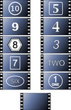 Movie Frame Numbers. Illustrations of celluloid movie film frames Royalty Free Stock Photo