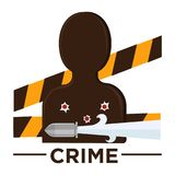 Movie genre crime cinema vector icon of vicitm bullet. Movie genre icon logo crime of man target silhouette, bullet holes and criminal police tape band. Vector Stock Photos