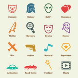 Movie genre elements. Infographic icons Stock Photography