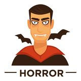 Movie genre horror cinema vector icon of vampire man. Movie genre icon logo horror of vampire man and bats. Vector flat isolated symbol template for cinema or Stock Images