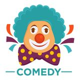 Movie genre comedy cinema vector icon of clown laugh. Movie genre icon logo comedy of clown laughing smile in wig. Vector flat isolated symbol template for Stock Images