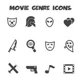 Movie genre icons. Mono vector symbols Stock Images