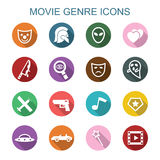 Movie genre long shadow icons. Flat vector symbols Royalty Free Stock Photography