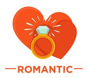 Movie genre romatic cinema vector icon of heart ring. Movie genre icon logo romantic of love hearts and wedding ring. Vector flat isolated symbol template for Royalty Free Stock Photos