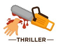 Movie genre thriller cinema vector icon of saw blood. Movie genre icon logo thriller of lsaw and cur hand in blood. Vector flat isolated symbol template for Royalty Free Stock Image