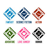 Movie genres icons vector. Vector icons and buttons for different genre of movies as action, science fiction, horror, comedy, adventure and fantasy Stock Images
