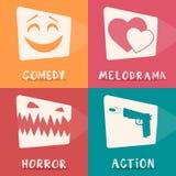 Movie genres poster. Cartoon vector illustration. Royalty Free Stock Photos