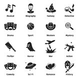 Movie genres vector icons. Movie film genres, comedy genre, war and romance genres, history drama film genre illustration Stock Photo