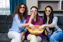 Movie with the girls Royalty Free Stock Images