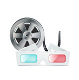 Movie glasses and film reel isolated. On white Royalty Free Stock Photo