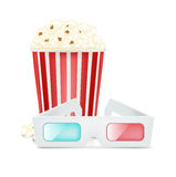 Movie glasses and popcorn isolated on white Stock Photos