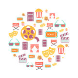 Movie Graphic Icons on white Background. Movie reto Graphic Icons on white  Background Stock Photo
