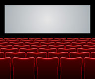Movie hall. With red seats and blank screen background royalty free illustration
