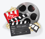 Movie Hollywood Popcorn. Movie Night Hollywood Popcorn Film Reel Stock Photography
