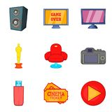Movie house icons set, cartoon style. Movie house icons set. Cartoon set of 9 movie house vector icons for web isolated on white background Royalty Free Stock Image