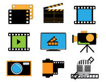 Movie icon. Collection of detailed movie icon Royalty Free Stock Photos