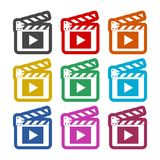 Movie icon, Film Flap sticker, color icons set. Simple vector icon Stock Photography