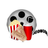 Movie icon. Items for cinema  on white background.reel of film with popcorn and a drink on a white background Royalty Free Stock Photo